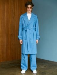 [BONNIE&BLANCHE] DENIM TWO TONE TRENCH COAT (BLUE)