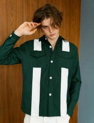 [BONNIE&BLANCHE] BIG STRIPE SHIRT JACKET (GREEN)