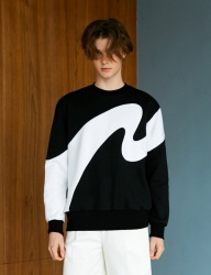 [BONNIE&BLANCHE] BIG WAVE SWEATSHIRT (BLACK)