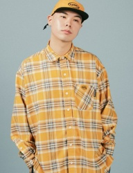 [A PIECE OF CAKE] Oval Logo Check Shirts_Yellow