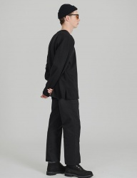 [costume oclock] BASIC 2H LINE COTTON PANTS BLACK