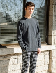 [costume oclock] SOFT BASIC CREW NECK KNIT CHARCOAL