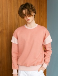 [BONNIE&BLANCHE] LAYERED OVER SWEATSHIRT (PINK)