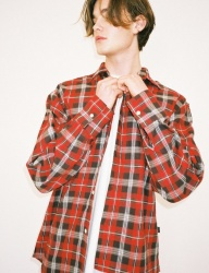 [SIESTA] unbal check shirt red