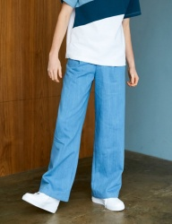 [BONNIE&BLANCHE] DENIM TWO TONE WIDE PANTS (BLUE)