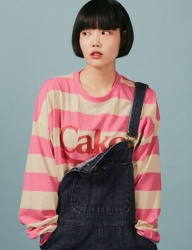 [A PIECE OF CAKE] Cake Stripe Longsleeved T-shirts_Pink