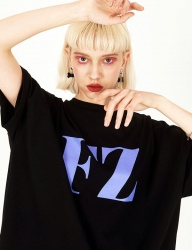 [FUZA] FZ OVERFITTED Black T-shirt