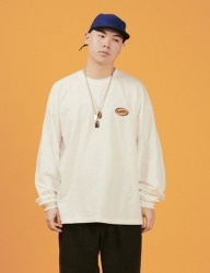 [A PIECE OF CAKE] Oval Logo Longsleeved T-shirts_White