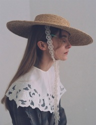 [AWESOME NEEDS] RAFFIA STRAW BOATER HAT_LACE RIBBON