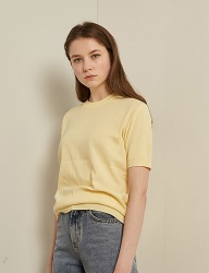 [TMO BY 13MONTH] HALF SLEEVE ROUND KNIT (YELLOW)