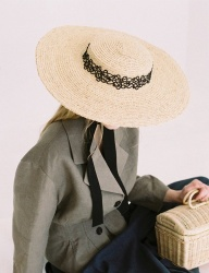[AWESOME NEEDS] RAFFIA STRAW BOATER HAT_LACE RIBBON+STRAP