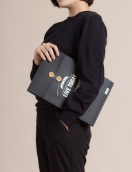 [WILD BRICKS] PAPER LEATHER BRIEF CASE & NOTEBOOK POUCH (black)