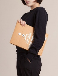 [WILD BRICKS] PAPER LEATHER BRIEF CASE & NOTEBOOK POUCH (orange)