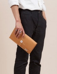 [WILD BRICKS] PAPER LEATHER CLUTCH BAG (orange)