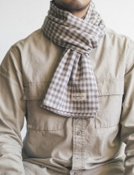 [WILD BRICKS] STRAW CHECK STOLE (beige)