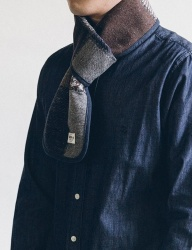 [WILD BRICKS] WOOL CR CHECK STOLE (navy)