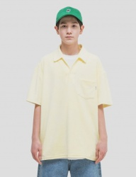 [WKNDRS] TOWEL COLLAR T-SHIRTS (L.YELLOW)