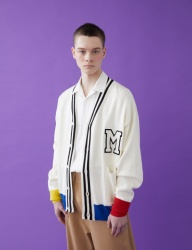 [MSKN2ND] COLOR BLOCK M PATCH CARDIGAN WHITE