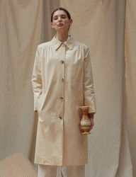 [TEAM SCULPTOR] ENAMEL LONG COAT [IVORY]