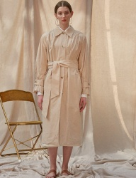 [TEAM SCULPTOR] YOKE SHIRRING TRENCH COAT [BEIGE]