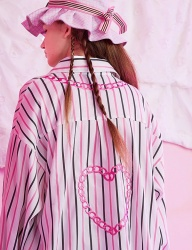 [VVV] VVV PINK HEART CHAIN STRIPE SHIRT