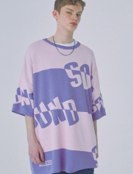 [WOOZO] 18 SS 10 sound stripe overfit shortsleeved tshirts (purple)