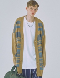 [WOOZO] 18 SS stripe overfit long cardigan