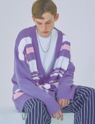 [WOOZO] 18 SS 3 stripe overfit long cardigan (purple)