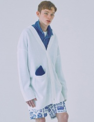 [WOOZO] 18 SS 2 overfit long cardigan (white)