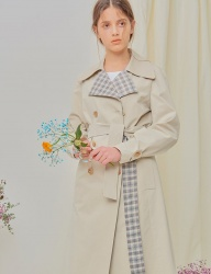 [NU PARCC] Plaid Mix Trench - IVORY