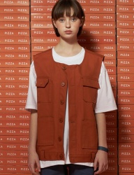 [UNALLOYED] POCKET COTTON VEST [ORANGE]
