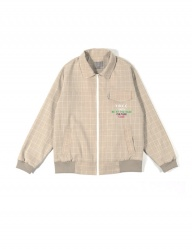 [youthbath] Check over-fit jumper beige