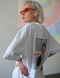 [youthbath] Mister graphic short sleeve T-shirt white
