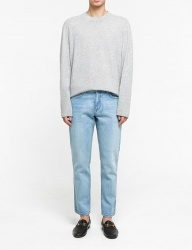 [FATALISM] light tone slim standard crop jeans