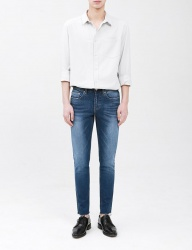 [FATALISM] summer blue cuttingcrop jeans