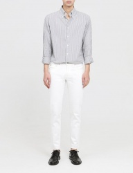 [FATALISM] white slim cuttingcrop jeans
