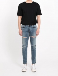 [FATALISM] stone washing diss crop jeans