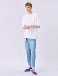 [VOIEBIT] V233 TWO TUCK RETRO DENIM PANTS (LIGHTBLUE)