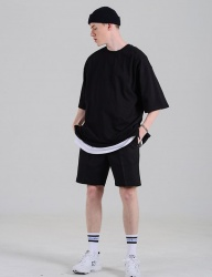 [costume oclock] BASIC 2H LINE COTTON SHORTS BLACK