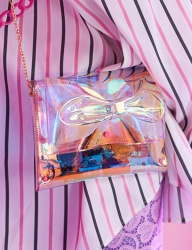 [VVV] VVV PINK HOLOGRAM PVC RIBBON CROSS BAG