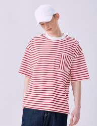 [VOIEBIT] V330 VERTICAL STRIPE POCKET HALF-TEE (RED)