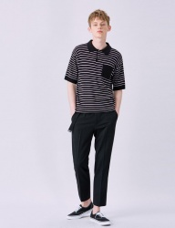 [VOIEBIT] V538 STRIPE POCKET COLLAR HALF-KNIT (BLACK)