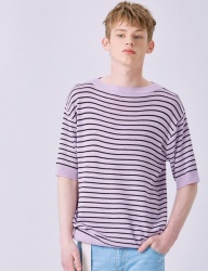 [VOIEBIT] V540 STRIPE BOAT NECK HALF-KNIT (PURPLE)