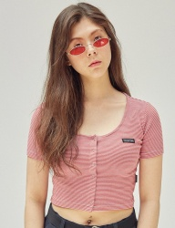 [SCULPTOR] BUTTON-DOWN CROP TOP [TOMATO RED / BLUE]