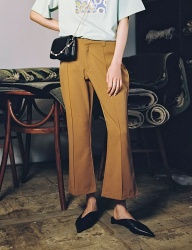 [oneninenineone] BROWN FLARE CROP PANTS
