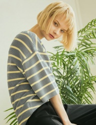 [KNITTED] COTTON MODAL CHALK STRIPE HALF KNIT T-SHIRTS 4 COLOR