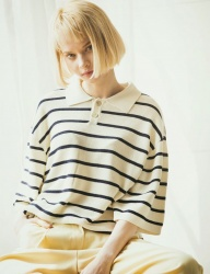 [KNITTED] COTTON MODAL CHALK STRIPE HALF PK KNIT T-SHIRTS 2 COLOR