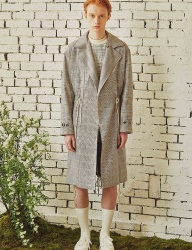 [by Standard] Hound's-tooth Check Trench coat