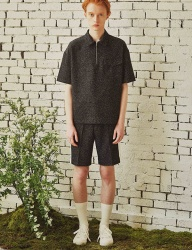 [by Standard] Black Homespun Casual Shirt