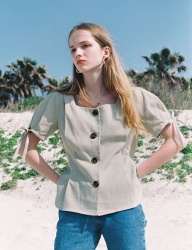 [NOMINATE] LINEN BUTTON DART BLOUSE LIGHTKHAKI